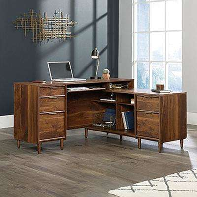 Clifford Place Grand Walnut L-Shaped Desk
