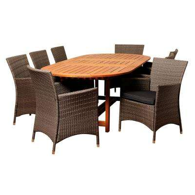 Nicholas 9-Piece Wood Outdoor Dining Set with Grey Cushions