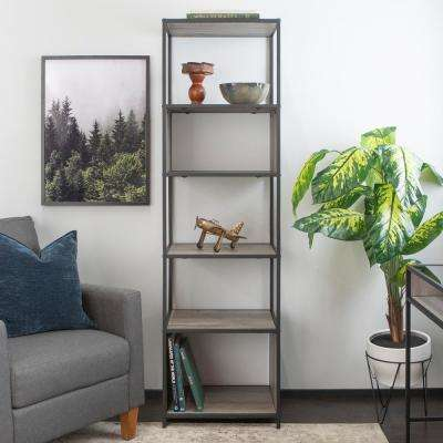 70 in. Grey Wash Metal and Wood Tower