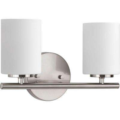 Replay 13 in. 2-Light Brushed Nickel Bathroom Vanity Light with Glass Shades