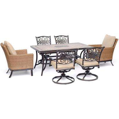 Monaco 7-Piece Aluminum Outdoor Dining Set with Tan Cushions 4 Swivel Rockers, 2 Woven Arm Chairs, Tile Table