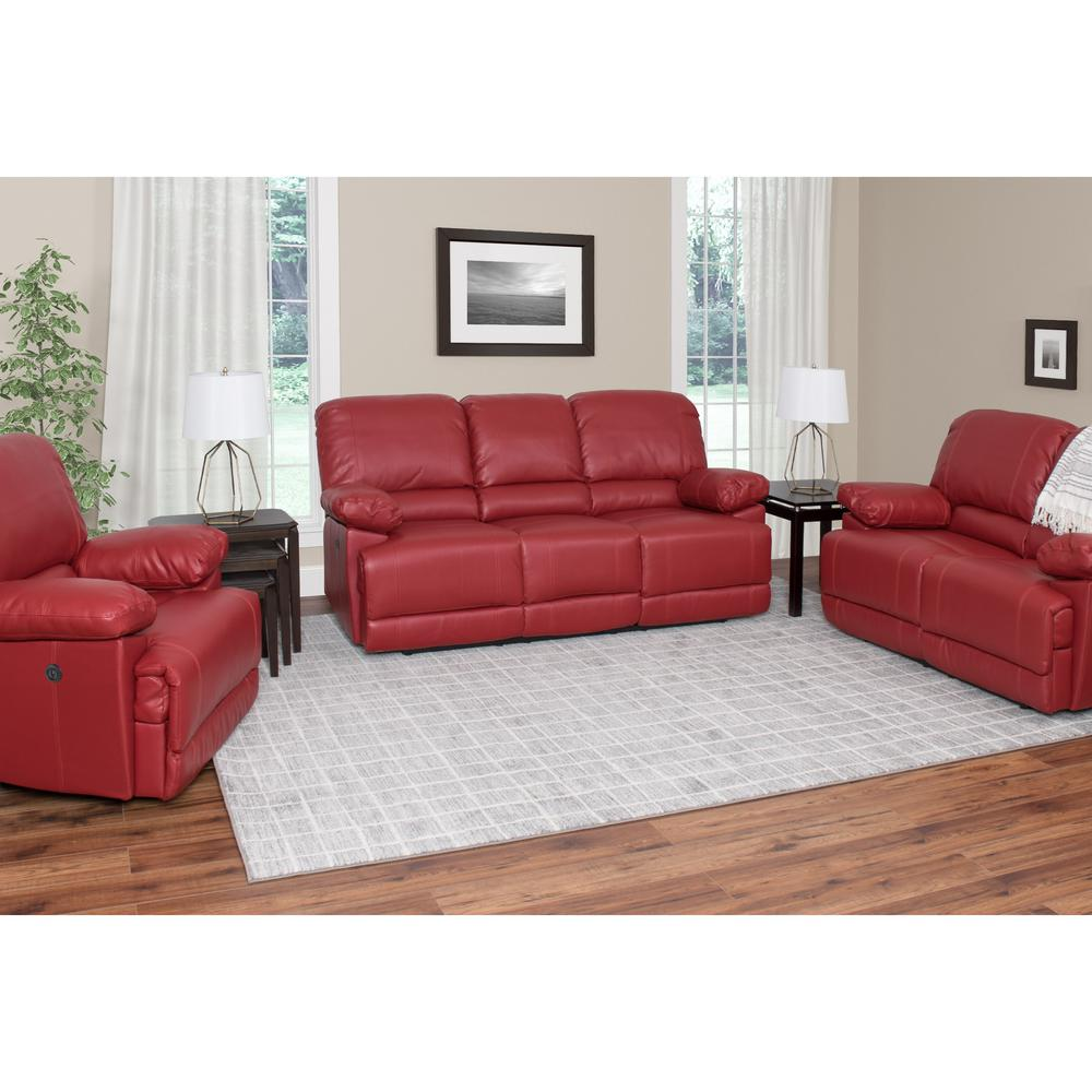 Corliving Lea 3 Piece Red Bonded Leather Power Recliner Sofa And