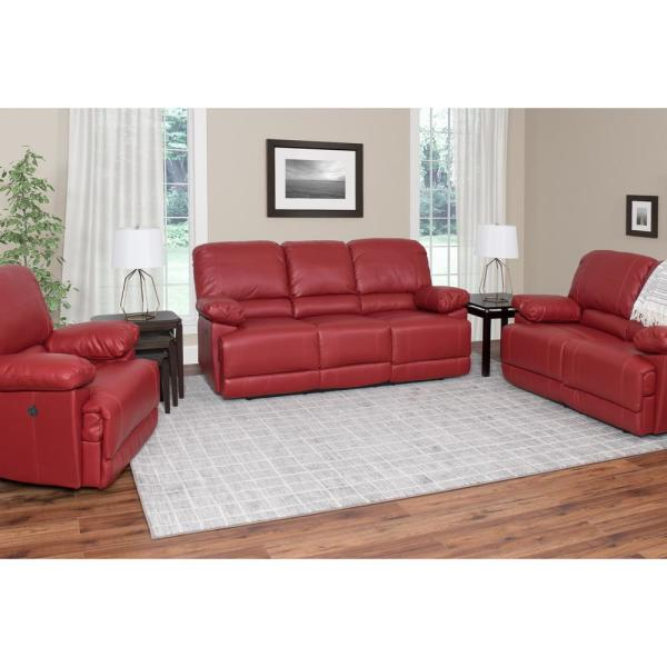 Corliving Lea 3 Piece Red Bonded Leather Recliner Sofa And Chair Set With Usb