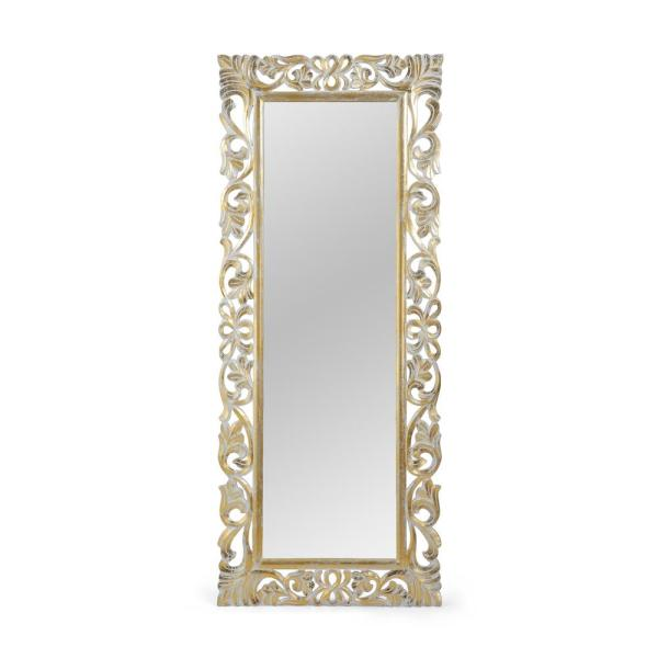Noble House Emerton 68 In X 27 50 In Classic Rectangle Framed Distressed White And Gold Accent Mirror 70776 The Home Depot