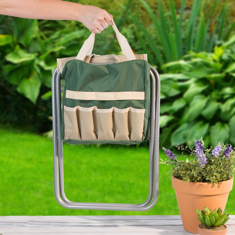 Peachy Pure Garden 16 In Folding Garden Stool With Garden Bag And Tools Uwap Interior Chair Design Uwaporg