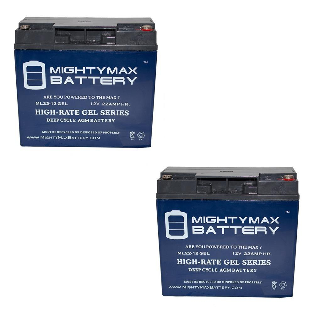 MIGHTY MAX BATTERY 12-Volt 22 Ah SLA (Sealed Lead Acid) GEL AGM Type Replacement Battery for Mobility and UPS Systems (2-Pack) Delivering power when you need it, the MIGHTY MAX ML22-12GEL 12-Volt 22 Ah (Maintenance Free) battery. Requires no addition of water during the life of the battery. The MIGHTY MAX ML22-12 GEL is a TRUE DEEP CYCLE battery that can be mounted in any position, requires no maintenance. When a Gel Cell battery is charged, no hazardous fumes escape the battery case, gases are processed within the battery itself. MIGHTY MAX GEL batteries are utilized in a wide variety of applications including, Consumer Electronics, Electric Vehicles, Engine Starters, Golf Carts, Hunting, Lawn and Garden Tools, Medical Mobility, Motorcycles, Power sports, Portable Tools, Solar, Toys and Hobby, Access Control Devices, Emergency Lighting, Security and more.