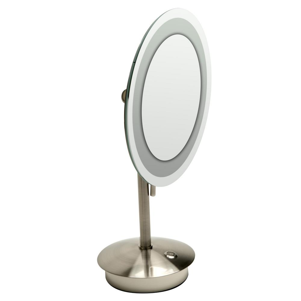 ALFI BRAND 14.25 in. x 9 in. Round Freestanding LED Lighted Single 5X Mirror in Brushed Nickel