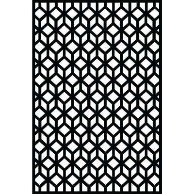 0.3 in. x 71 in. x 3.95 ft. Cubism Recycled Plastic Charcoal Decorative Screen (5-Piece per Bundle)