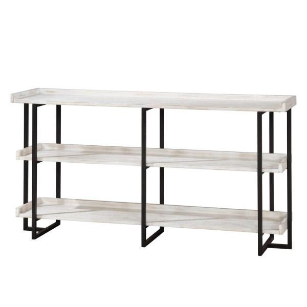 Fitzwallace 32 in. Antique White and Black Metal 3-Shelf Accent Bookcase with Open Back