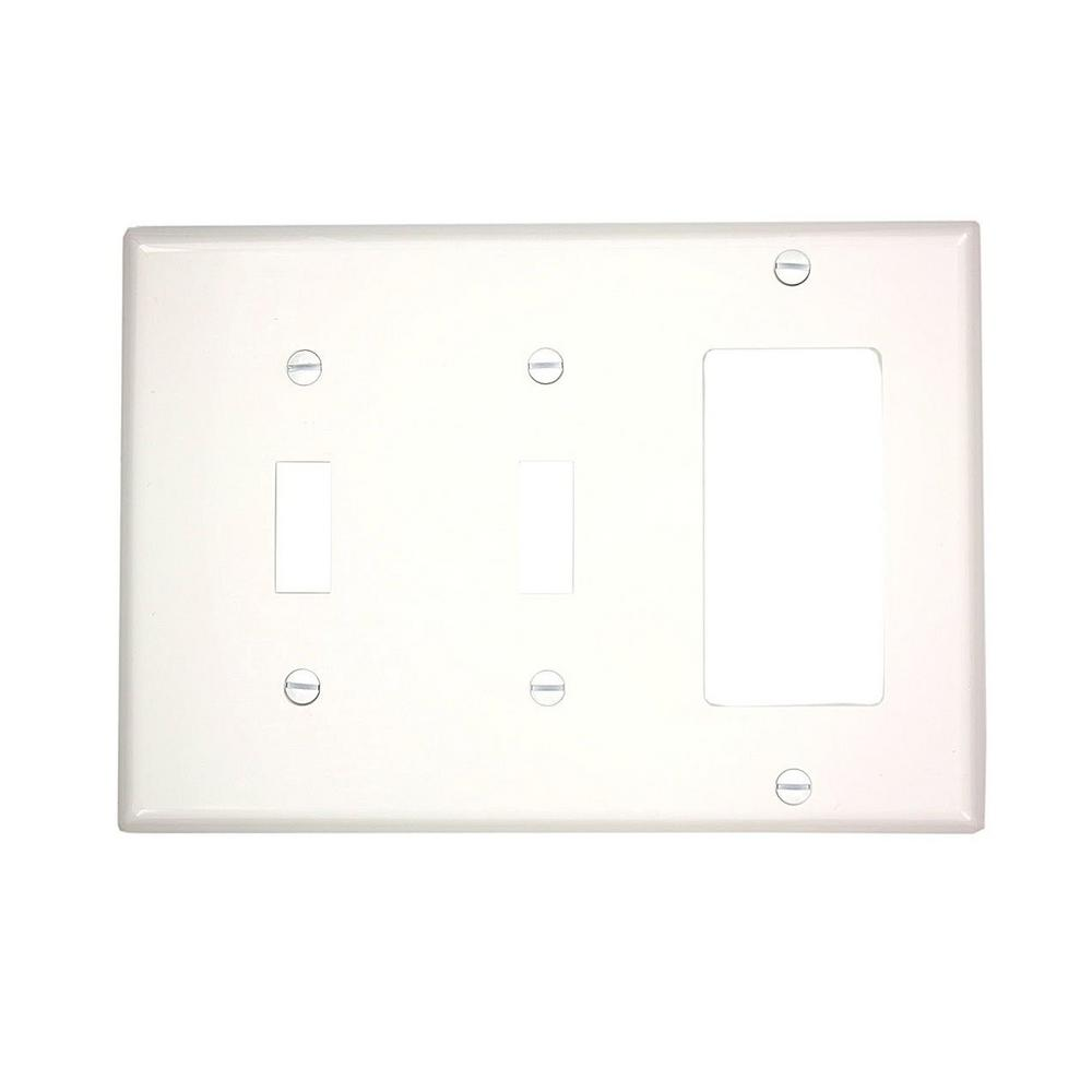 Leviton 3-Gang Standard Size 2-Toggles 1-Decora Nylon Combination Wall Plate, White