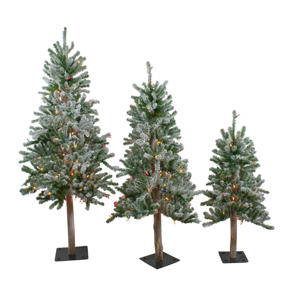 Northlight 3 ft., 4 ft. and 5 ft. Pre-Lit Flocked Alpine ...