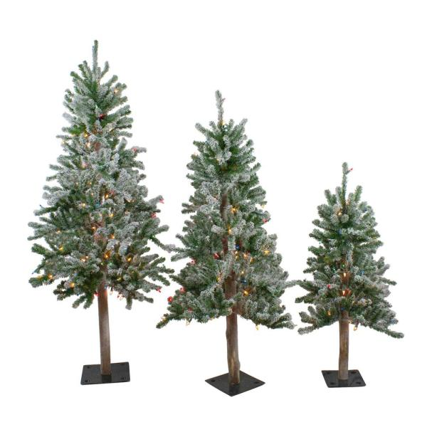 3 ft., 4 ft. and 5 ft. Pre-Lit Flocked Alpine Artificial Christmas Trees - Multi-Lights (Set of 3)