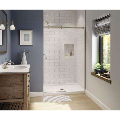 Luminescence 47 in. x 72 in. Frameless Sliding Shower Door in Brushed Nickel