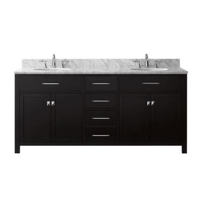 Virtu USA Caroline 72 in. W Double Bath Vanity in Espresso with Marble Vanity Top and Round Basin with Faucet