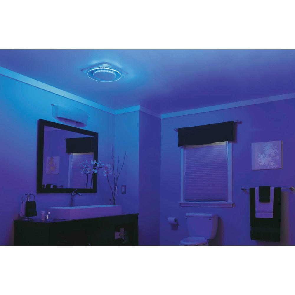 Nutone Lunaura Square Panel Decorative White 110 Cfm Bathroom Exhaust Fan With Light And Blue Led Night Light Energy Star