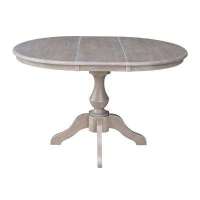 36 in. x 48 in. x 30 in. H Weathered Taupe Gray Extension Sophia Pedestal Table
