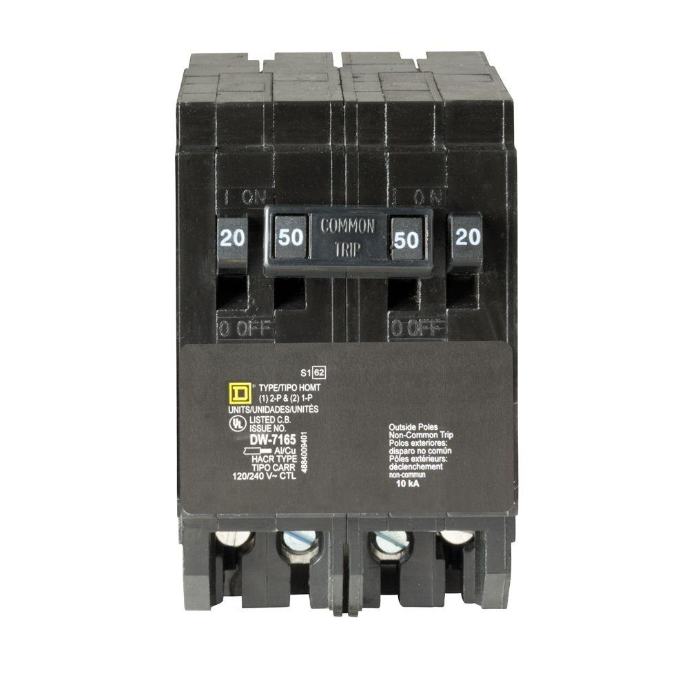 square d homeline 50 amp 2 pole circuit breaker hom250cp the homehomeline 2 20 amp single pole 1 50 amp 2 pole quad