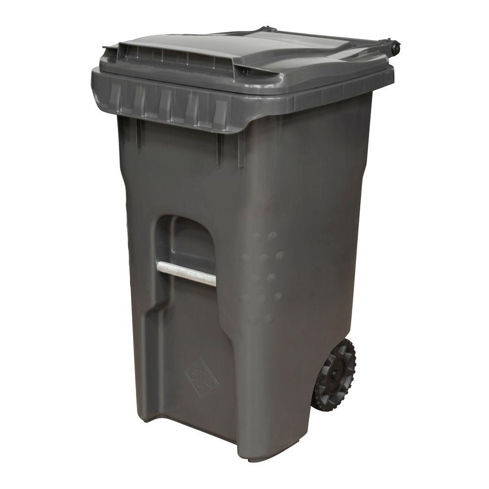 Otto Edge 45 Gal. Grey Heavy Duty Rollout Trash Can