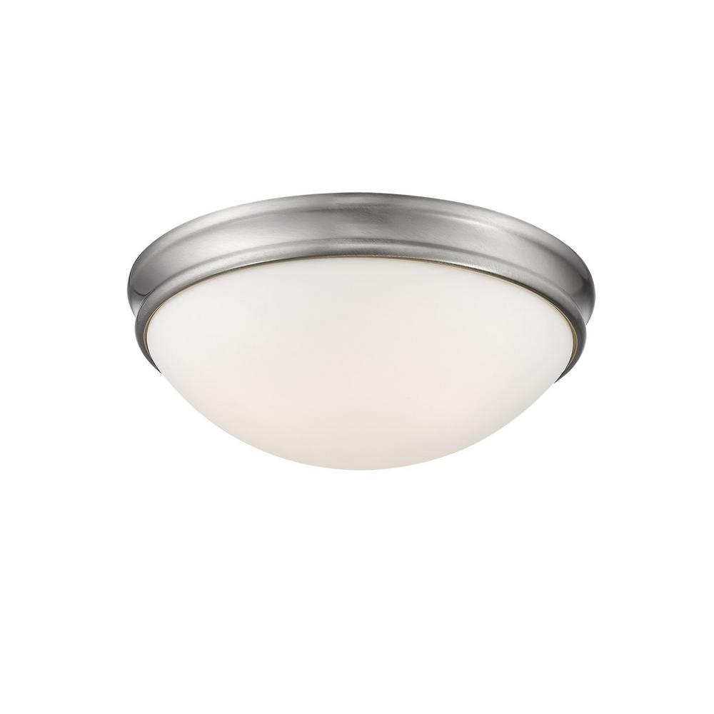 Millennium Lighting 14 In Wide 3 Light Brushed Nickel Flush Mount Bowl Ceiling Fixture With Glass Shade 5225 Bn The Home Depot