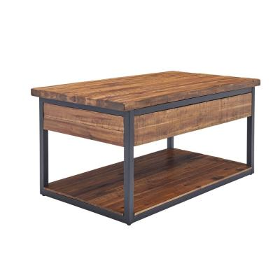 """Claremont 42""""L Rustic Wood Coffee Table with Low Shelf"""