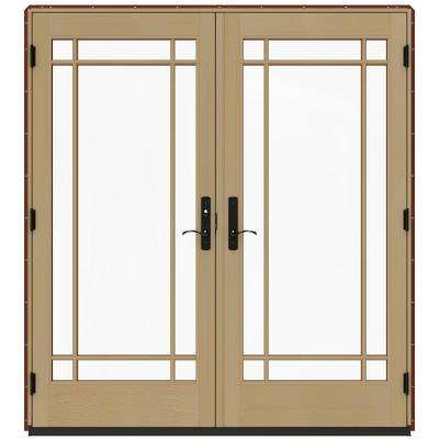72 in. x 80 in. W-4500 Red Clad Wood Right-Hand 9 Lite French Patio Door w/Unfinished Interior