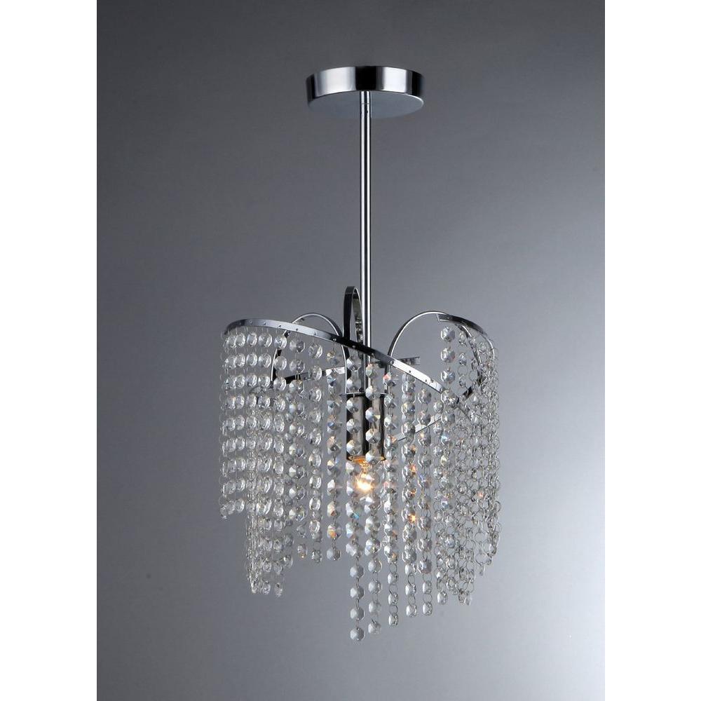 Ann 1 Light Crystal Chrome Chandelier With Shade