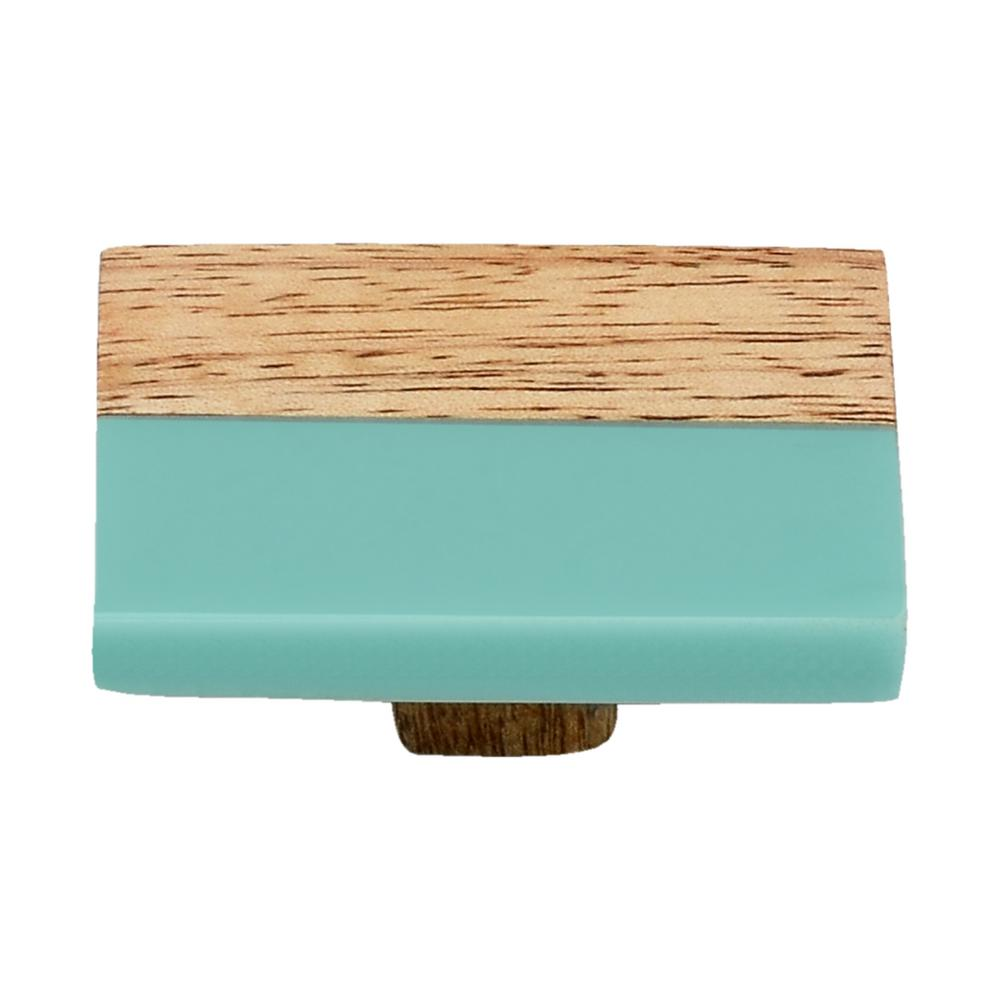 Frosted straight timber 2 in turquoise resin cabinet knob
