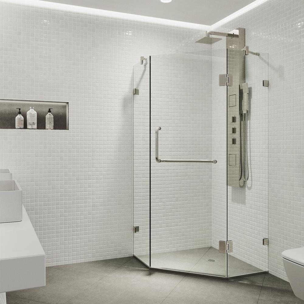 Piedmont 34.125 in. x 73.375 in. Frameless Neo-Angle Hinged Shower Enclosure