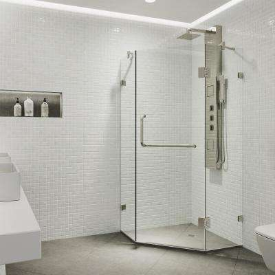 Piedmont 34.125 in. x 73.375 in. Frameless Neo-Angle Hinged Shower Enclosure in Brushed Nickel with Clear Glass