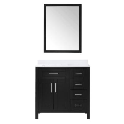 Tahoe 36 in. W Single Sink Vanity in Espresso with Cultured Marble Vanity Top in White with White Basin and Mirror