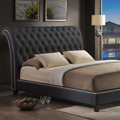 Jazmin Transitional Black Faux Leather Upholstered Queen Size Bed