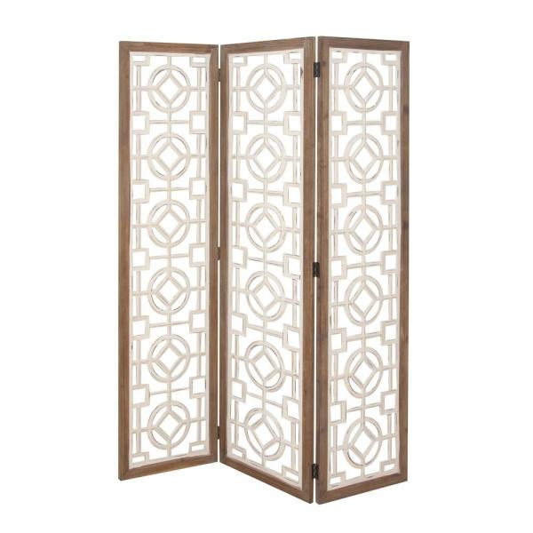 54 in. x 72 in. 3-Panel Rustic Wooden Screen