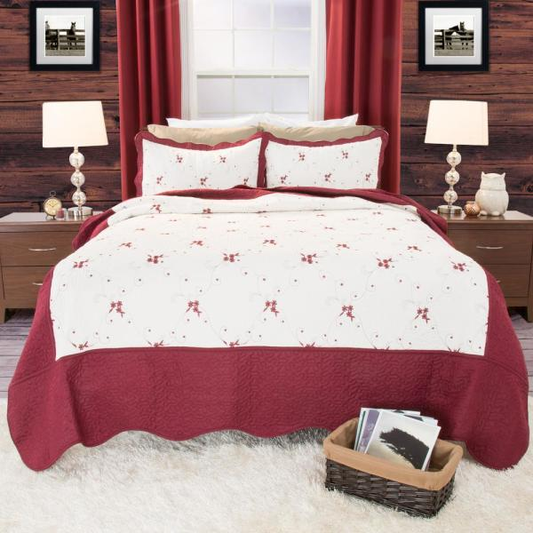 Lavish Home Chloe Embroidered Red Polyester Twin Quilt 66-10011-T