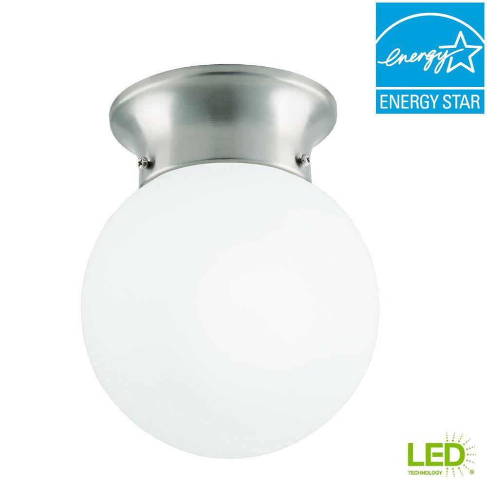 Commercial Electric 6 in. 60-Watt Equivalent Brushed Nickel Integrated LED Flushmount with Frosted White Glass Globe