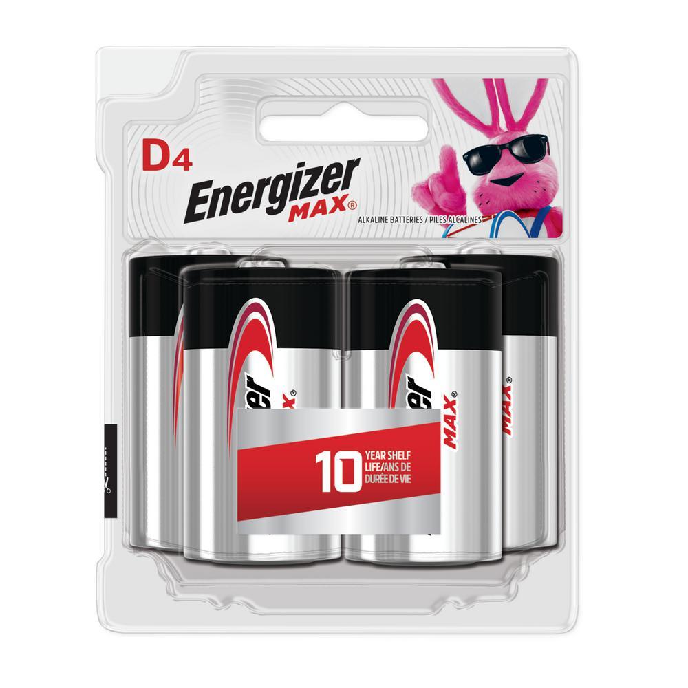 Energizer MAX D Batteries (4 Pack), D Cell Alkaline Batteries