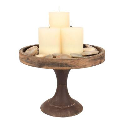 9 in. H Rustic Wooden Pedestal Tray