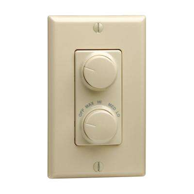 1.5 Amp 300-Watt Decora Single Pole Rotary Dimmer and Fan Speed Control, Ivory