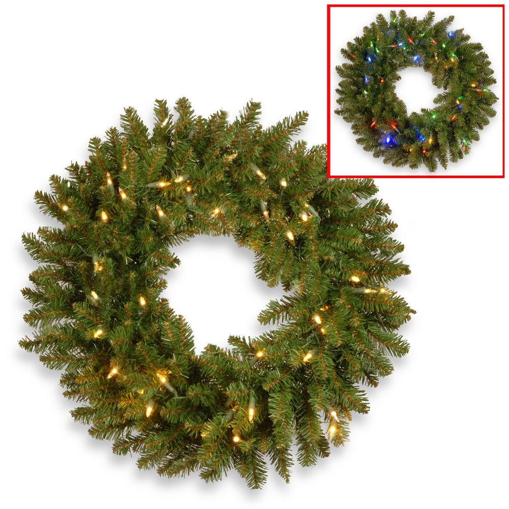 National Tree Company 24 in. Kingswood Fir Artificial Wreath with Battery Operated Dual Color LED Lights