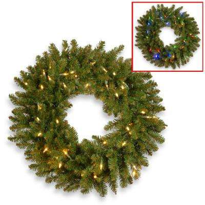 24 in. Kingswood Fir Artificial Wreath with Battery Operated Dual Color LED Lights