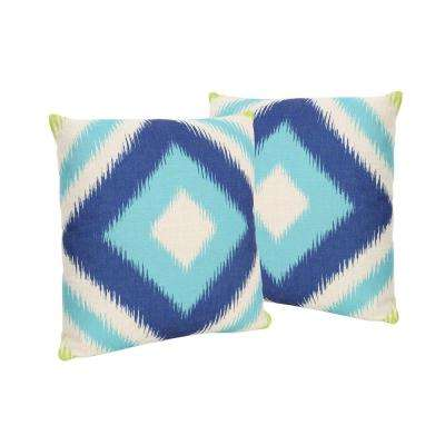 Victoria Blue and Teal Square Outdoor Throw Pillows (Set of 2)