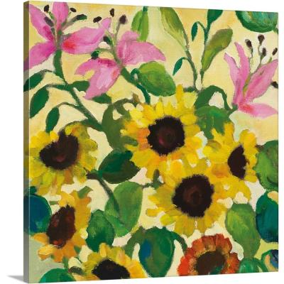"36 in. x 36 in. ""Sunflowers and Pink Lilies"" by  Kim Parker Canvas Wall Art"