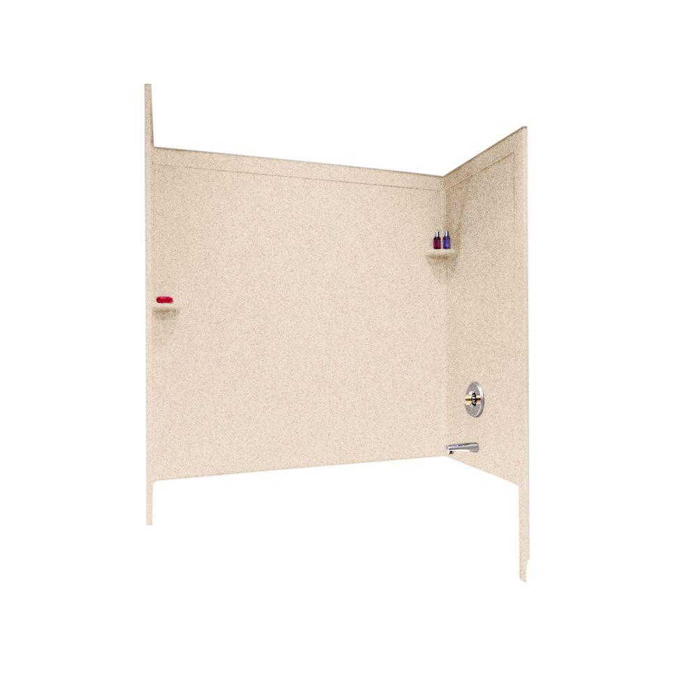 Swan 33-1/2 in. x 60 in. x 60 in. 3-Piece Easy Up Adhesive Tub Wall in Bermuda Sand