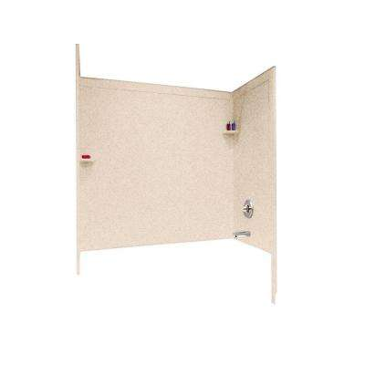 33-1/2 in. x 60 in. x 60 in. 3-Piece Easy Up Adhesive Tub Wall in Bermuda Sand
