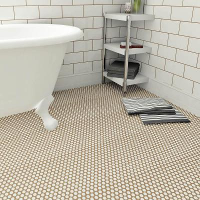 Hudson Penny Round Snowcap White 12 in. x 12-5/8 in. x 5 mm Porcelain Mosaic Tile