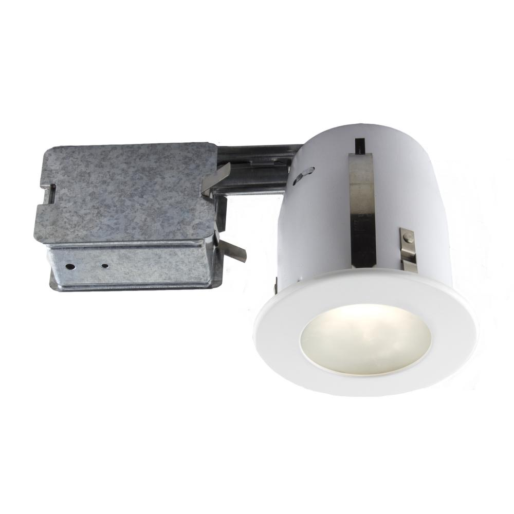 White recessed fixture kit for damp locations