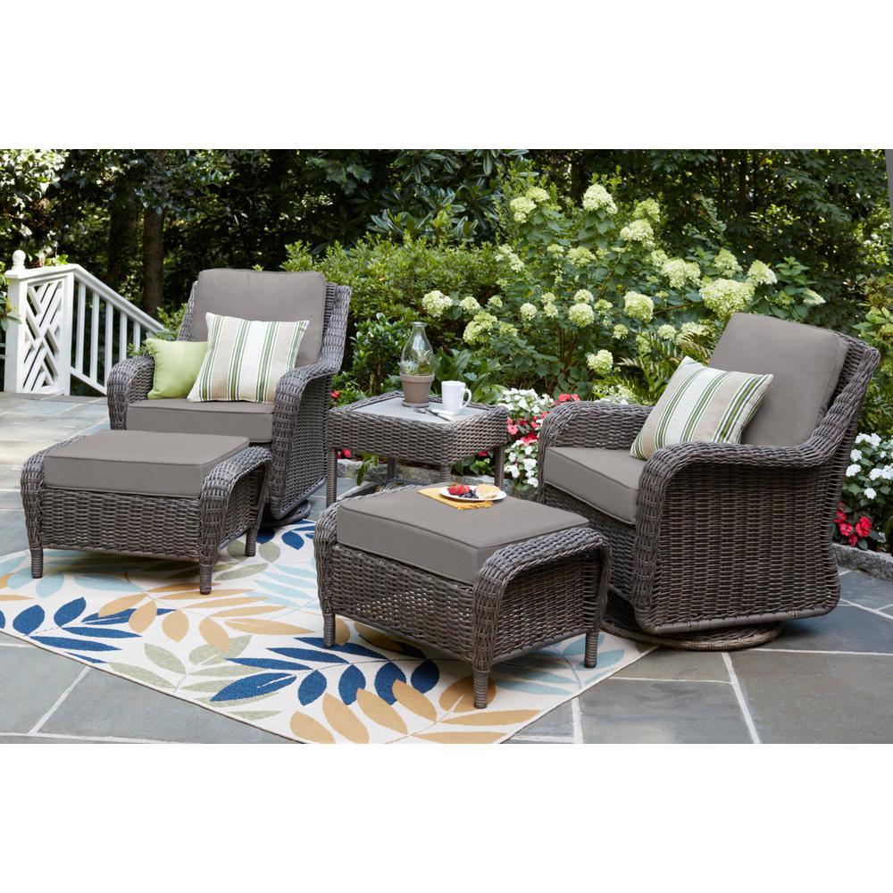Cambridge Gray Wicker Outdoor Patio Swivel Rocking Chair with CushionGuard Stone Gray Cushions