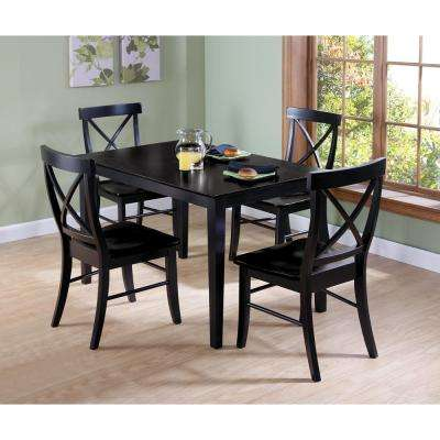 Black Solid Wood Dining Table