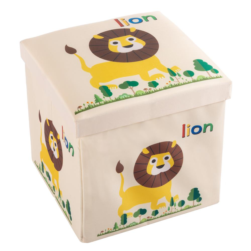 Fabulous Hey Play 12 In X 12 In Collapsible Storage Toy Bin And Ottoman Machost Co Dining Chair Design Ideas Machostcouk