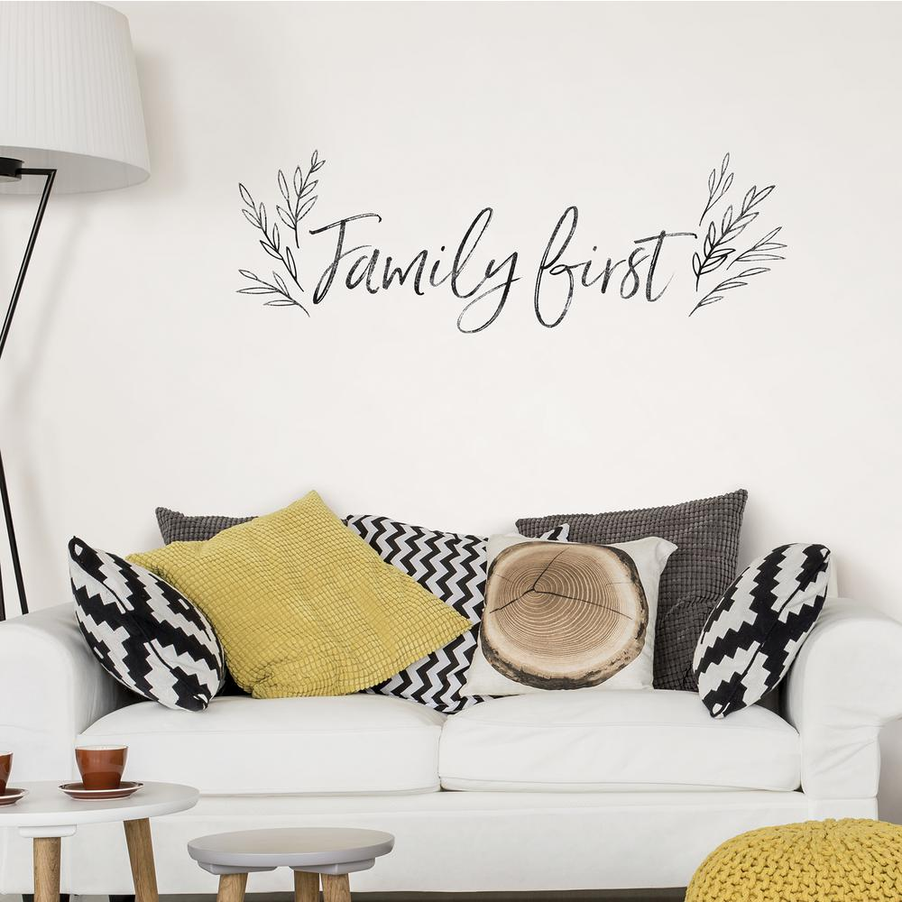 Peachy Black Family First Wall Quote Decal Beatyapartments Chair Design Images Beatyapartmentscom