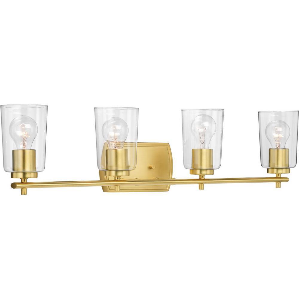 Progress Lighting Adley 4-Light Satin Brass Bath Light